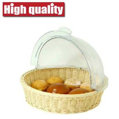 Rattan Bread Tray & Transparent Cover