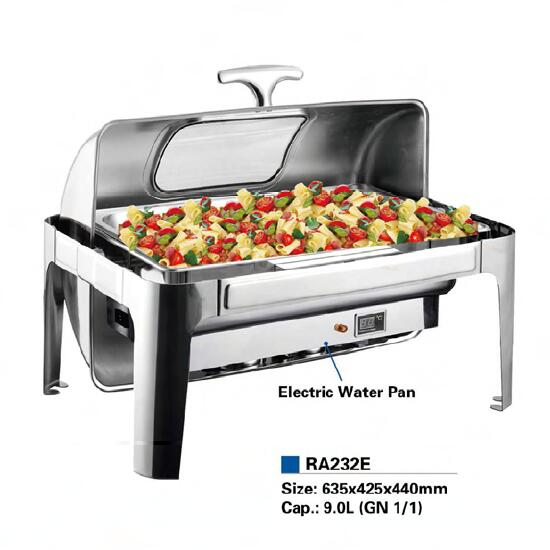 9L roll top chafing dish with electric water pan