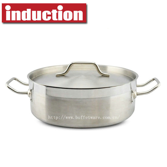 Reinforced Commercial Stainless Steel Stew Pan